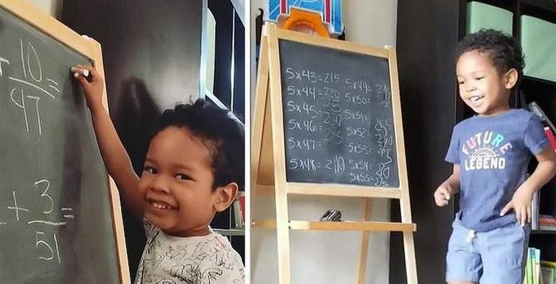 The three-year-old child prodigy easily solves the math problems of high school